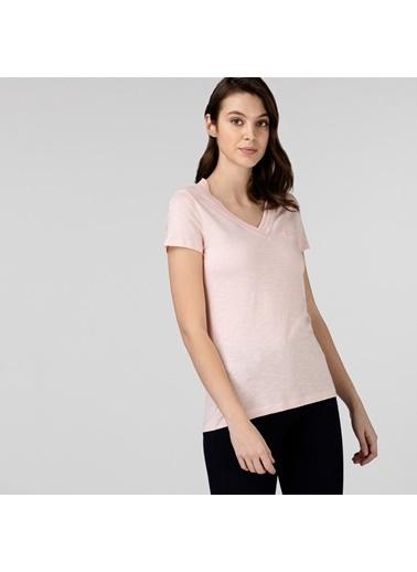 Lacoste Kadın Slim Fit Tişört TF0132.32P Pembe